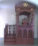 Desain Mimbar Masjid Atap Kubah Tampak Depan Kode ( MM 075)